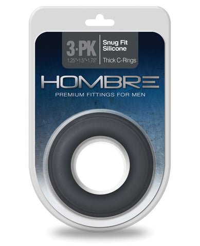 Hombre Snug Fit Silicone Thick C Rings - Charcoal Pack of 3