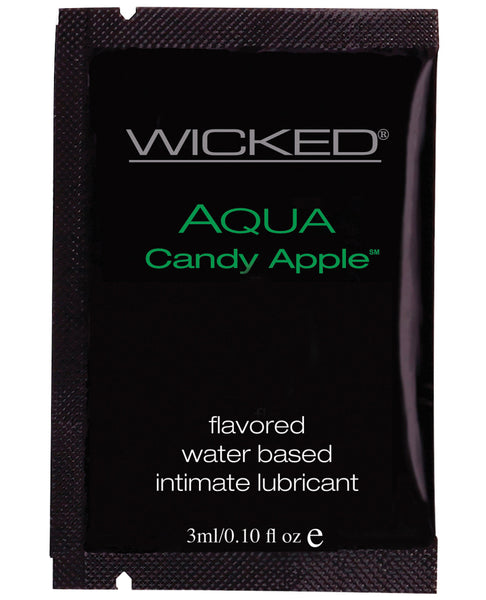 Wicked Sensual Care Collection Aqua Waterbased Lubricant - 3 ml. Packet Candy Apple