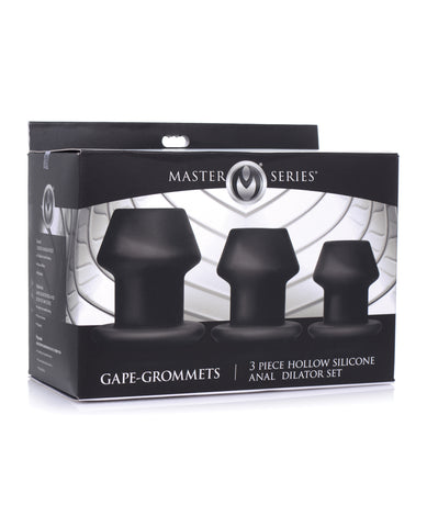 Master Series Gape-Grommets 3 pc Hollow Silicone Anal Dilator Set - Black
