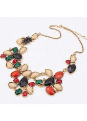Multi Color Rhinestone Filled Necklace - Miss Red Carpet