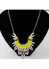Yellow & White Rhinestone Necklace - Miss Red Carpet