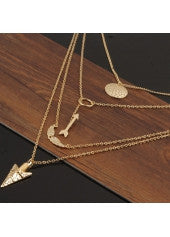 Multi Layer Arrows & Wings Necklace - Miss Red Carpet