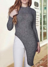 Knitted Asymmetric Sweater - Miss Red Carpet