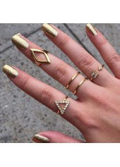 Gold Geometric Decorated Ring Set - Miss Red Carpet