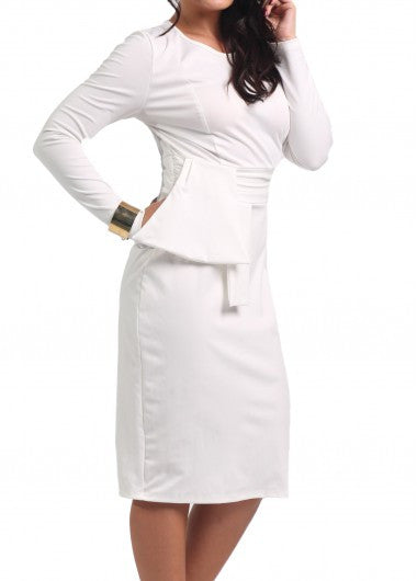 Round Neck Long Sleeve White Dress - Miss Red Carpet