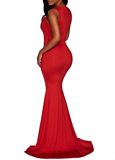Solid Mermaid Maxi Dress - Miss Red Carpet