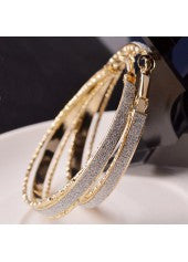 Gold Frosted Metal Hoop Earrings - Miss Red Carpet