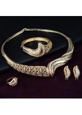 Gold Crystal Swirled Jewelry Set - Miss Red Carpet