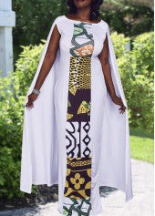 Cloaked African Print Dress - Miss Red Carpet