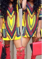 Yellow Dashiki Shirt Dress - Miss Red Carpet