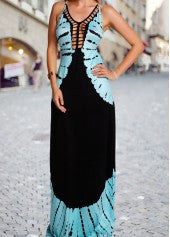 Blue Printed Criss Cross Back Maxi Dress - Miss Red Carpet