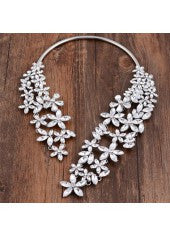 Silver Flower Cuff Necklace - Miss Red Carpet