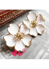 Gold Embellished Flower Studs - Miss Red Carpet
