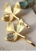 Gold Leaf Hairpins - 1pc - Miss Red Carpet