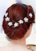 Pearl & Crystal Flower Hairpin - 1pc - Miss Red Carpet