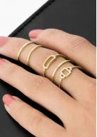Stacked 5pc Ring Set - Miss Red Carpet