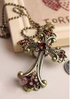 Rhinestone Cross Necklace - Miss Red Carpet
