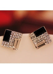 Crystal Square Studs - Miss Red Carpet