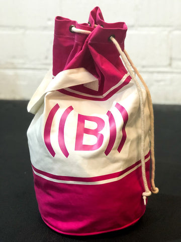 ((BOUNCE)) Canvas Duffle Bag  | Fuchsia/ Natural