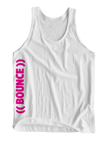 ((BOUNCE)) Sports Vest | Side Print White / Pink