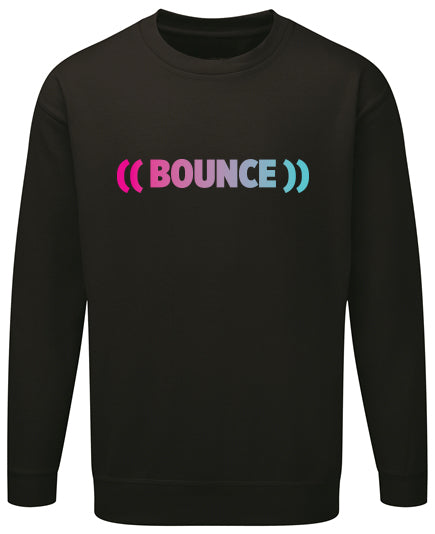 ((BOUNCE)) Ladies Sweatshirt | Black / Pink | Black / Rainbow