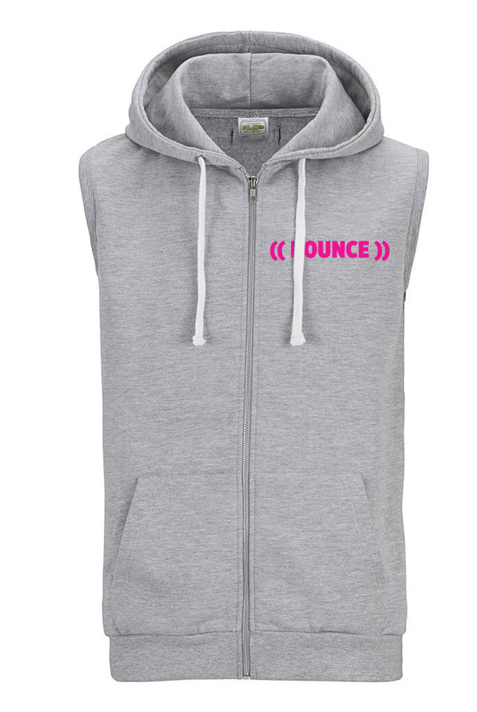 Sleeveless Zoodie #bouncearmy | Heather Grey / Pink