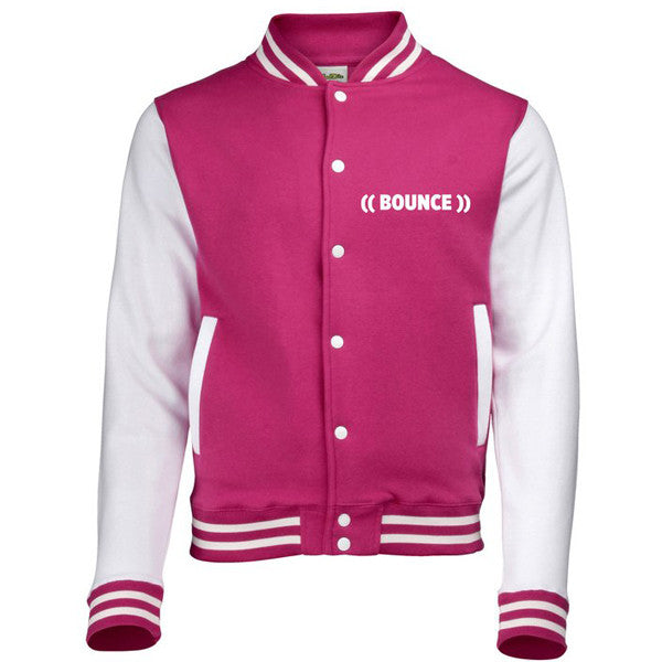 ((BOUNCE)) #bouncearmy Varsity Jacket | Hot Pink / White