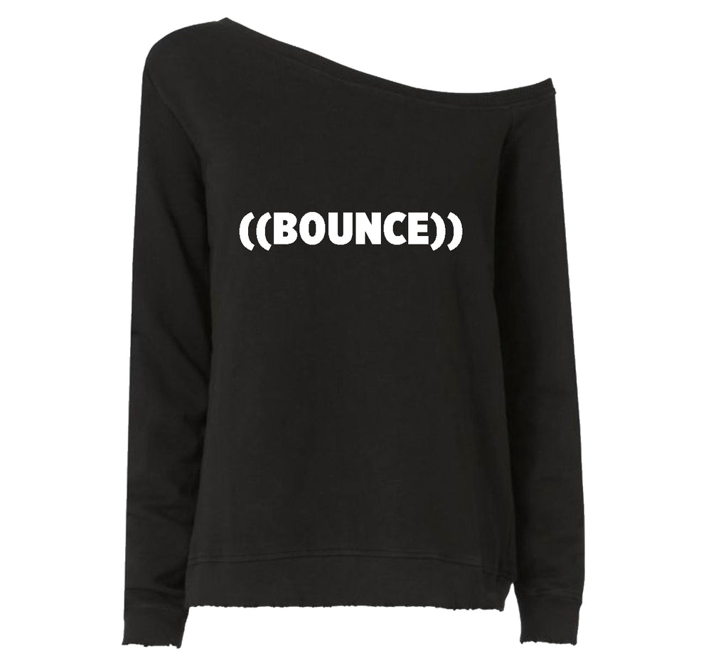 ((BOUNCE)) Ladies Off the Shoulder Sweatshirt | Black / White