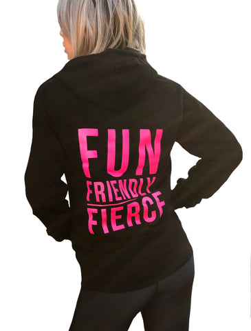 ((BOUNCE)) Fun, Friendly, Fierce Zip Hoodie | Black / Pink
