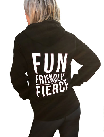 ((BOUNCE)) Fun, Friendly, Fierce Zip Hoodie | Black / White