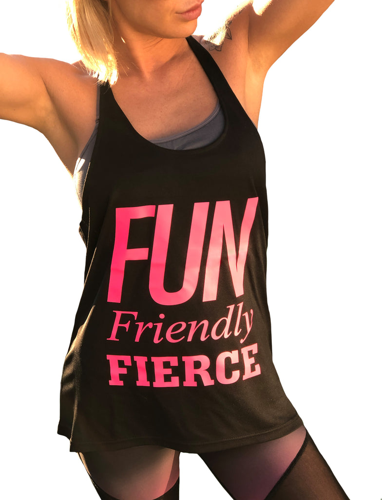 ((BOUNCE)) Slogan Loose Sports Vest | Black / Pink