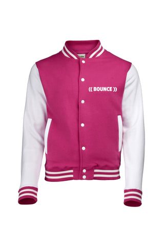 ((BOUNCE)) Kids #bouncearmy Varsity Jacket | Hot Pink / White