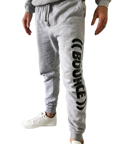 ((BOUNCE)) Tapered Jogging Bottoms | Grey / Black