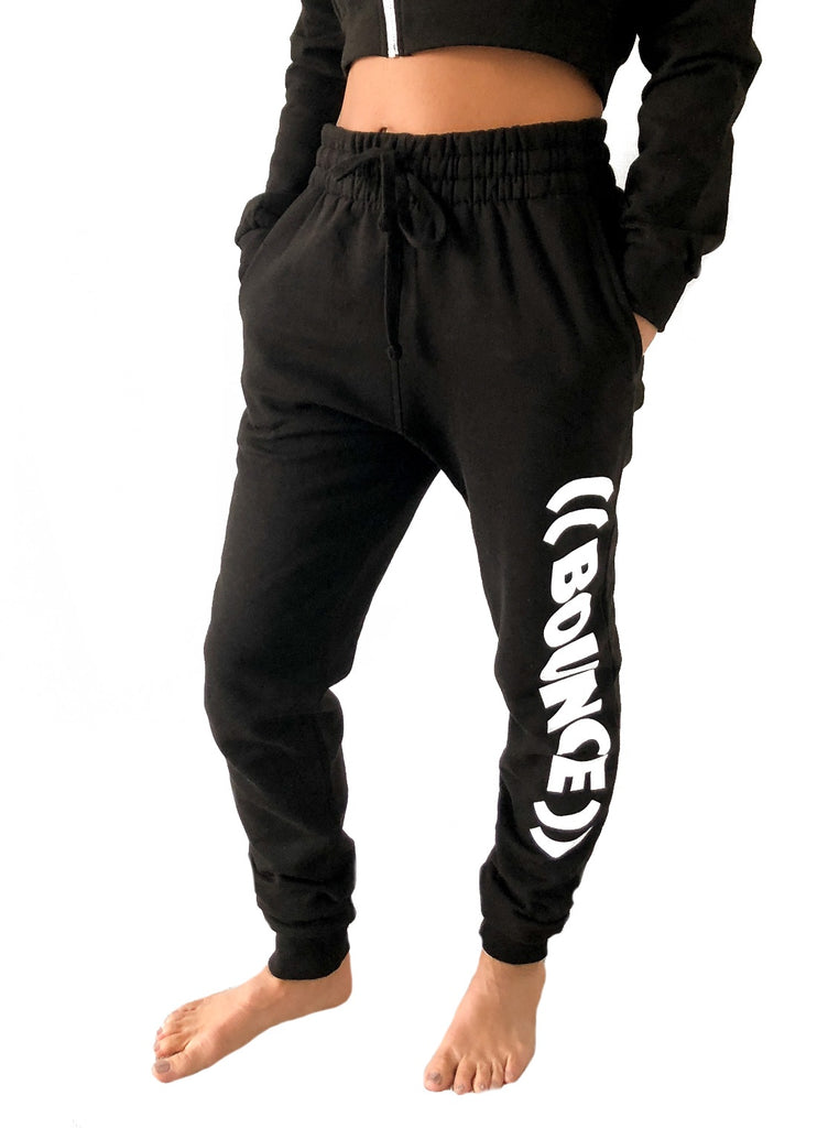((BOUNCE))  Tapered Jogging Bottoms | Black /White