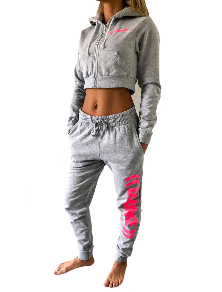 ((BOUNCE))  Tapered Jogging Bottoms | Grey / Pink