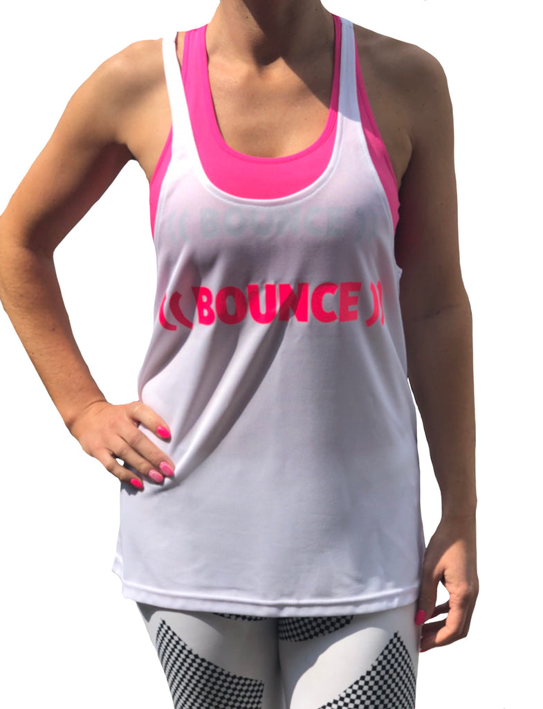 Personalised Team ((BOUNCE)) Loose Sports Vest | White / Pink | Black / Pink