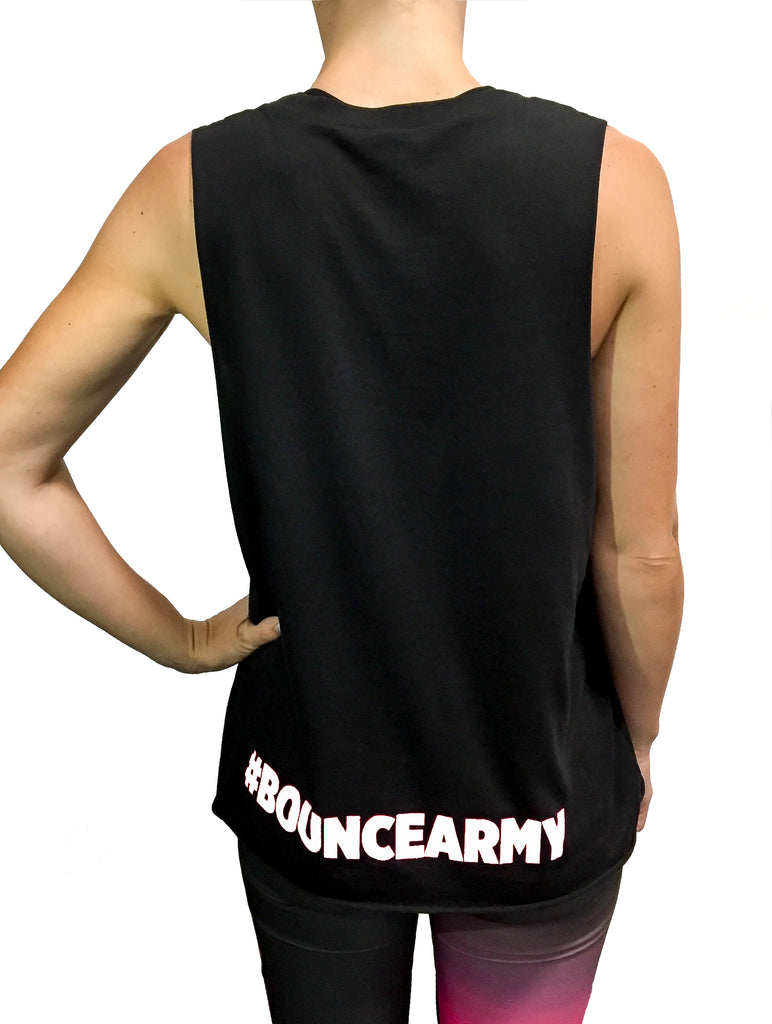 ((BOUNCE)) Ladies high neck vest | Black / Pink | Black / White