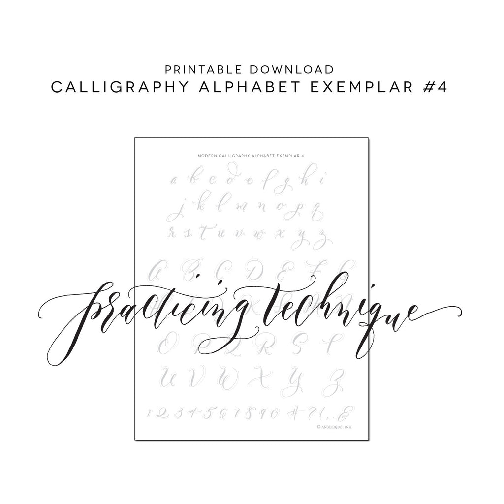 picture regarding Printable Calligraphy Practice Sheets called Printable Calligraphy Educate Alphabet (Electronic Obtain - Alphabet 4)
