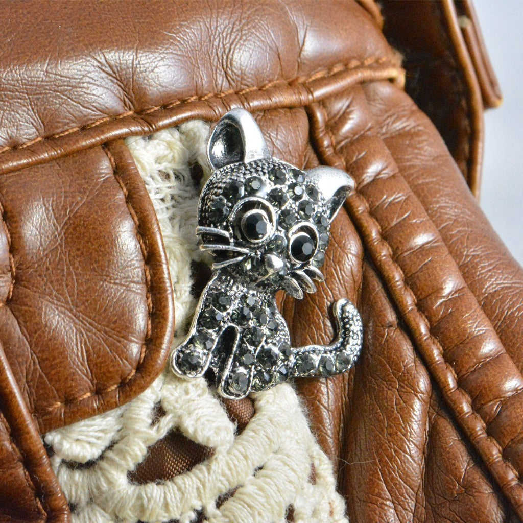crystal cat pin on purse