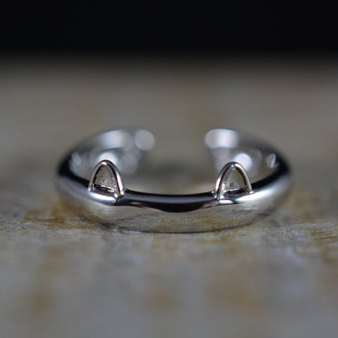 Silver Plated Cat Ear Ring