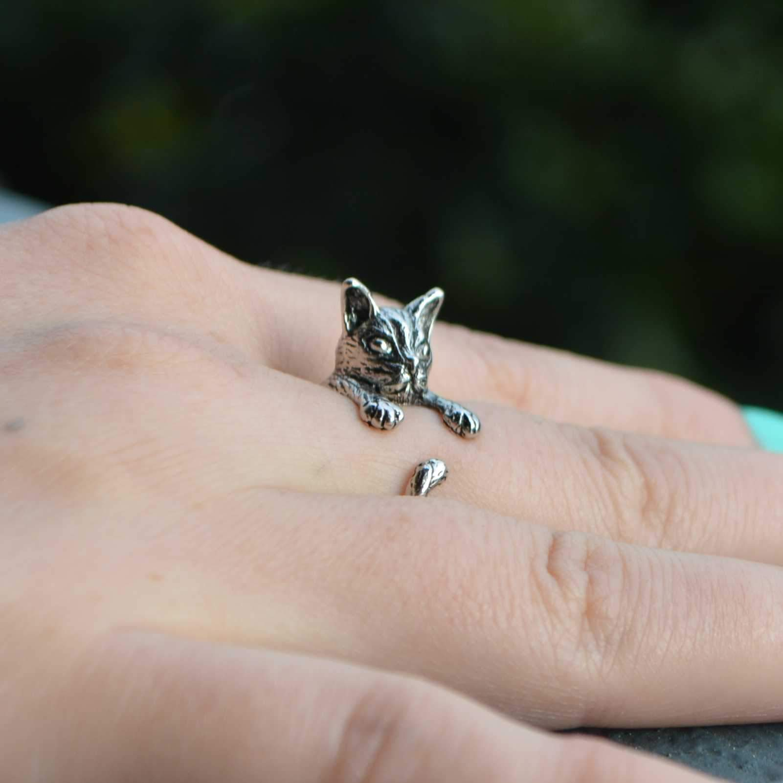 vintage cat ring in silver color - catify.co