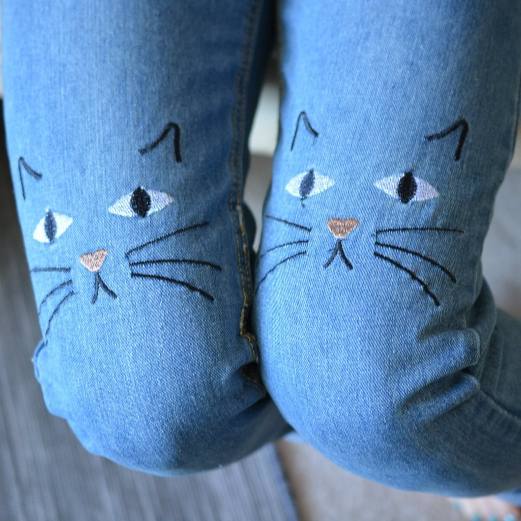 Cat Face Embroidered Stonewashed Jeans