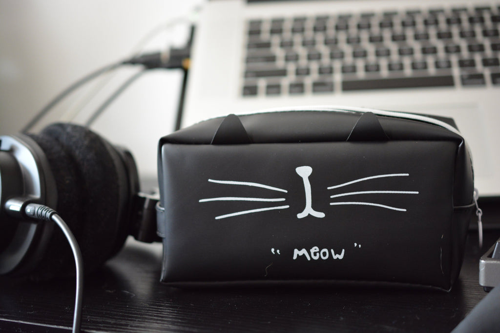 Cute Cat Pencil Case on Desk with laptop and headphones