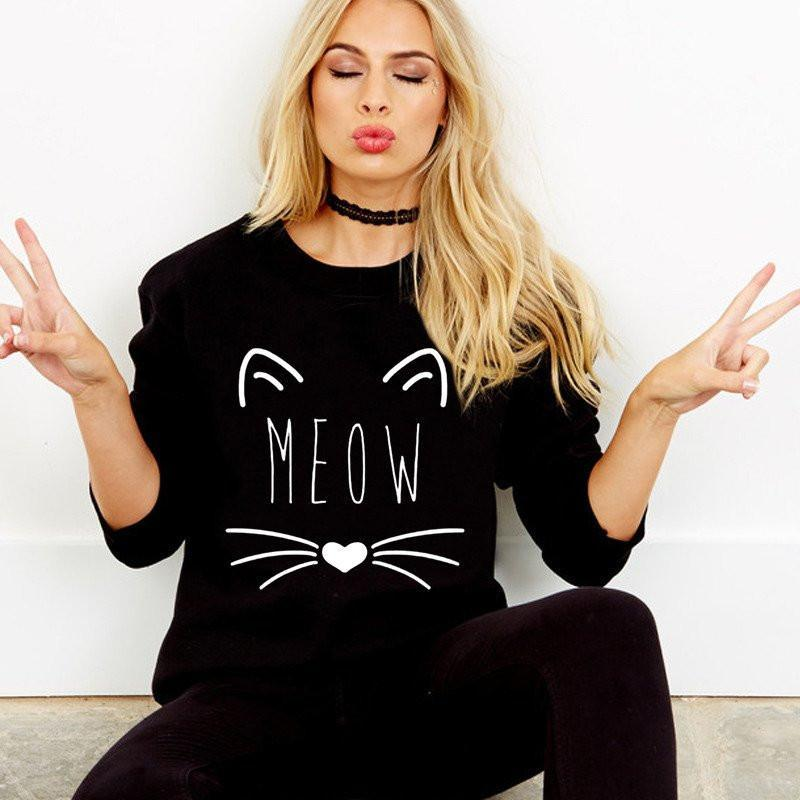 meow sweatshirt for cat lovers