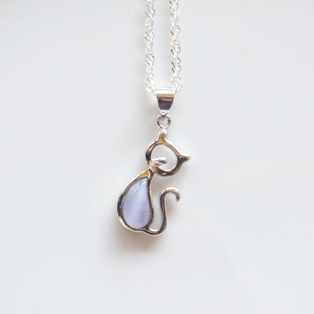 Made in London Cat Jewelry Black Opal Cat Necklace