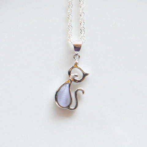Opal Love Cat Pendant and Necklace - White Bkrd