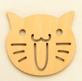 Laughing Cat Face Wood Coaster