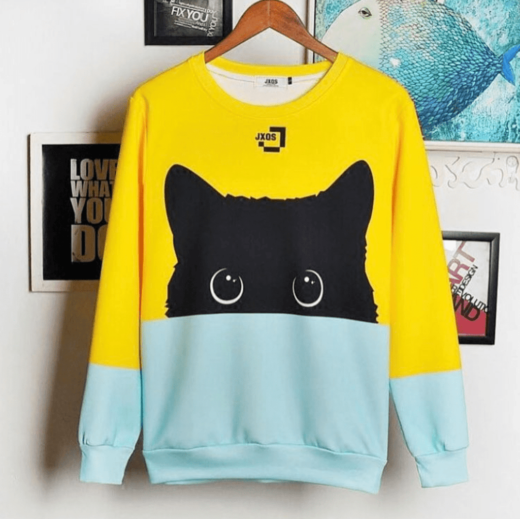 c9b99d11 Black Cat Two Tone Sweatshirt | Catify.co