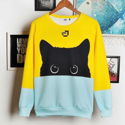 Black Cat Sweater - Two Tone