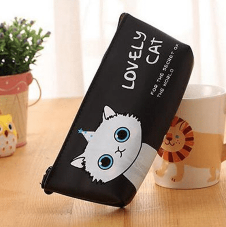 cat themed pencil case with cup 3